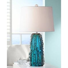 Possini Euro Deborah Blue Art Glass Table Lamp