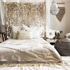 Decorated Heart Shaped Wall Art for a Romantic Bedroom, King Size Bohemian Headboard Made of Teak Wood by Thai Artist. Bohemian Headboard, Bohemian Bedroom Decor, Modern Bedroom Decor, Cozy Bedroom, Bedroom Furniture, Master Bedroom, Contemporary Bedroom, Bedroom Brown, Master Suite