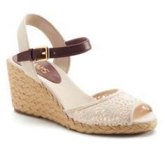 Chaps Damara Women's Slingback Crochet Espadrille Wedge Sandals