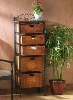 Storage units do not need to be bulky and bland. Add ample storage with this Wicker Storage Drawers Unit. Made with sturdy wicker and steel materials, this stylish, durable storage drawers unit is sturdy enough to handle a variety of items. Drawer Storage Unit, Cabinet Shelving, Storage Baskets, Storage Chest, Iron Storage, Basket Drawers, Chest Drawers, Dresser Storage, Towel Storage