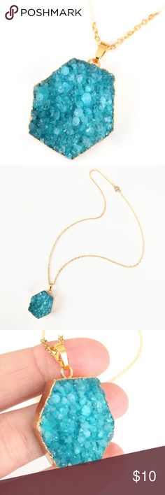 "Gold-plated genuine druzy hexagon necklace Natural beauty meets a chic and modern design in this gold-plated stunner!  Genuine agate druzy crystals sparkle in gorgeous blue shades...An absolute must-see in person!  Necklace measures about 20"" long.  PRICE IS FIRM and extremely reasonable, but click ""add to bundle"" to save 10% on your purchase of 2+ items! Jewelry Necklaces"
