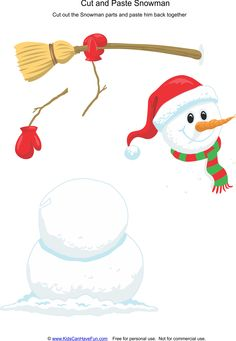 Cut and Paste Snowman Worksheet  Snowman Worksheets and Activities