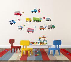 壁を可愛くデコレーション ウォールステッカー 働く車 - インテリア家具通販サイト ショップフェイマス