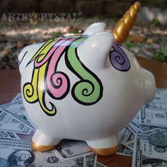 unicorn piggy banks - UniPig the Unicorn Piggy Bank custom unicorn by everafterpapery Unicorn Room Decor, Unicorn Rooms, Great Christmas Gifts, Great Gifts, Pig Bank, Arte Country, Money Box, Tis The Season, Maya