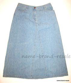 J. Jill Long Flared Denim Jean Skirt WOMENS 12 Misses Modest Flare A-Line J JILL #JJill #Flare