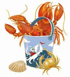 Lobster, crab and cute beach pail by Mary Lake Thompson Joe Crab Shack, Seaside Art, Crab And Lobster, I Love The Beach, Illustrations, Nautical Theme, Beach Day, Watercolor Art, Cute Pictures