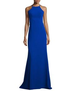 2f2cbbc19ac Sleeveless Laced Stretch Crepe Gown