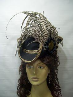 Pirate Hat Tricorn Hat Renaissance Hat LARP BLAck Steampunk Hat Halloween Pirate Hat Jack Sparrow Hat by mspurdy