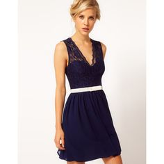 Asos Skater Dress With Scallop & Velvet Bow ($62) ❤ liked on Polyvore