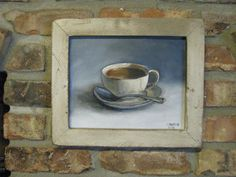 Primitive look Tea Cup original oil by rockymountainpasthym, $55.00