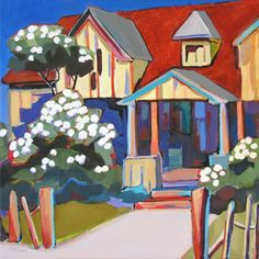 """Daily Painters Abstract Gallery: Contemporary Urban Scene, """"Oxford Place,"""" by Carolee Clark, Oregon Artist"""