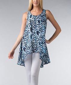 Take a look at the Vasna Blue & Black Abstract Racerback Swing Top - Women on #zulily today!