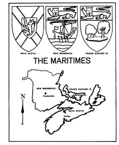 Canada Day - The Maritimes - Map / Coat of Arms Coloring Pages Canadian Provincial Flags, Canada Day Fireworks, Canada Day Crafts, Voyage Canada, Cool Coloring Pages, Coloring Sheets, Canadian History, Worksheets For Kids, Learn French