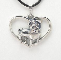 """Sterling Silver Pug Pendant w/18"""" Sterling chain by Donna Pizarro fr Animal Whimsey Collection of Fine Dog Jewelry and Pug jewelry"""