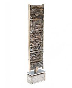 "Arnaldo Pomodoro Column 1961 Silvered bronze Signed and dated 17.125"" x 3.75"" x 2"""