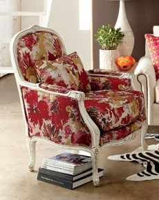 """Massoud """"Christina"""" Chair from Horchow--no website linky More old lady tastes--I want a vaguely ugly floral armchair that doesn't match anything. This chair is great, but too bold. Not too bold for this old lady! Funky Furniture, Home Furniture, Upholstered Furniture, Accent Furniture, Poltrona Floral, Take A Seat, Love Seat, Traditional Chairs, Bergere Chair"""