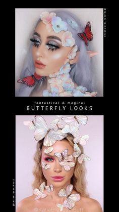 Dope Makeup, Makeup Eye Looks, Creative Makeup Looks, Makeup Art, Butterfly Makeup, Flower Makeup, Fairy Makeup, Fairy Fantasy Makeup, Cowgirl Makeup