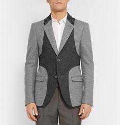 Alexander McQueenGrey Slim-Fit Panelled Wool Blazer