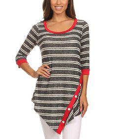 Another great find on #zulily! Gray Stripe Top - Women #zulilyfinds