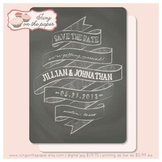rustic chalk board wedding save the date card - digital or printed. $19.75, via Etsy.
