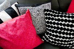 Marimekko pillows. Black and White. Finnish Design.