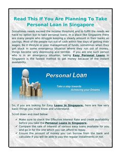Read This if You Are Planning to Take Personal Loan in Singapore The Plan, How To Plan, Singapore, Author, Reading, Writers, Reading Books