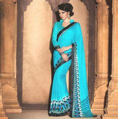 Firozi Color Wrinkle Crepe Party Wear Sarees : Akanshika Collection YF-32230