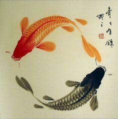 "Symbol Of Courage, Aspiration, & Advancement - Unknown Source Koi (鯉) or more specifically nishikigoi (錦鯉), literally ""brocaded carp""), are ornamental varieties of domesticated common carp. Koi Painting, Japanese Painting, Chinese Painting, Chinese Art, Japanese Watercolor, Koi Art, Fish Art, Japanese Koi, Japanese Prints"