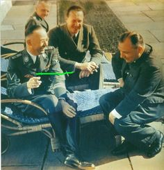 Heinrich Himmler, Walther Hewel and Martin Bormann at Hitler's mountain retreat, the Berghof in Berchestagden, Germany