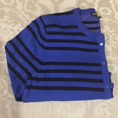 ⚡️$5 FLASH SALE⚡️ Beautiful Cable and Gauge Royal blue and black striped cardigan.  3/4 sleeve. EUC. Cable & Gauge Sweaters Cardigans