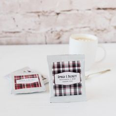 This personalized packet of hot chocolate goodness will warm any heart.  Each single serving packet is available in many designs, fit for wedding favors, holiday favors or corporate party favors.  Customize with two lines of text for a gourmet cocoa gift.
