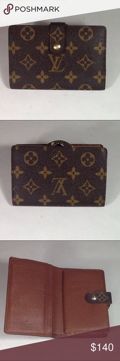 Authentic Louis Vuitton Porte Monaire Brown Wallet Leather had some peeling inside the money pocket. The wallet was bade in France with a date code MI 0949. The dimension is 3.5, 5.5 and 1. Louis Vuitton Accessories