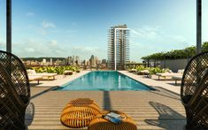 Piscine extérieure sur le toit de MYX condos. Condominium, Condos, Architecture, Outdoor Decor, Home Decor, Outdoor Pool, Spaces, Arquitetura, Decoration Home