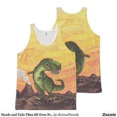 Heads and Tails TRex All Over Printed Tank Top by Animal Parade