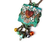 Fly  Inspirational Collage Necklace  by Janet Wilson of ChickieGirlCreations, $34.00