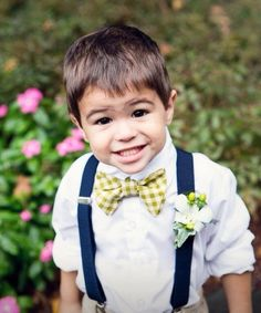 Ring bearer suspenders and green tie. Adding green converse sneakers. Adorable!