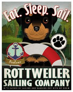 Rottweiler Sailing Company Original Art Print by DogsIncorporated, $29.00