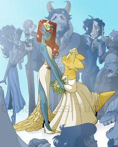 Awwwww!! <3 <3 Though I would imagine Undyne in a tux instead of a dress, still good fanart!