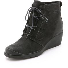 Sorel Toronto Lace Wedge Booties ($76) ❤ liked on Polyvore featuring shoes, boots, ankle booties, wedges, black, black booties, black lace booties, lace-up booties, lace up boots and wedge boots