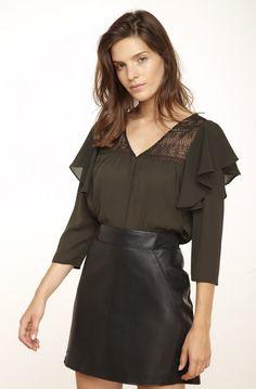 Blouse manches longues volantee dark kaki - tee-shirts femme - naf naf 25e