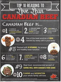 Top 10 Reasons to Love Lean Canadian Beef! Good Sources Of Iron, Farming, Ontario, Calves, Cow, Nutrition, Beef, Good Things, Health