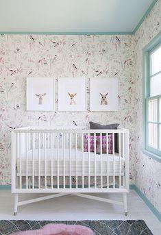 The Animal Print Shop - nurseries - Benjamin Moore - Waterfall - Tyler Hall Sanctuary Wallpaper, Mid Century French Crib, Lamb Little Darlin...