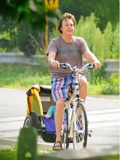 Sir Paul McCartney -- Bicycle Dad with Beatrice, Aug. 2009, the Hamptons