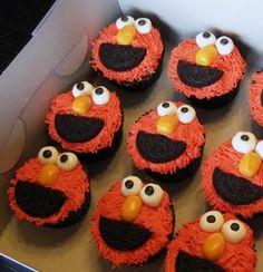 elmo cup cakes for Caroline's birthday!