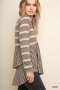45a3f9747096b8 Great striped, layered top by Umgee.Perfect piece to dress up or wear with  jeans! runs tts.