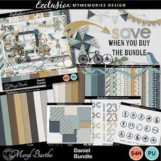 Named for our gorgeous grandson, Daniel this, easy to scrap with, versatile bundle in soft shades of aqua, mustard, brown with lovely neutrals, this versatile digital scrapbooking bundle, especially for boys, will quickly become a stash favourite!