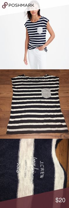 J. Crew Linen Striped Pocket TShirt Like new J. Crew Linen striped pocket TShirt. Navy and white stripes. smaller stripes on the pocket. It is a real pocket. Small cap sleeves. J. Crew Tops