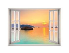 Camper Van wall decals tropical beach sunny day room wall stickers 3d window W11