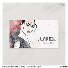 Fashion Illustration Face Business Card Fashion Illustration Face, Fashion Business Cards, Red Background, Fashion Stylist, Creative Business, Stylists, Things To Come, Prints, How To Make