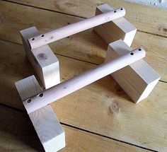 Wooden parallettes. Essential piece of kit if your looking to increase strength with body weight exercises and gymnastic movements. Made from 30mm thick dowel and 150mm x 45mm blocks. Height is 125mm from floor to top of handle and these are 300mm in length. | eBay!